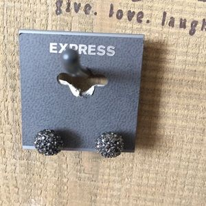 Express Gray and Crystal Bauble Post Back Earrings